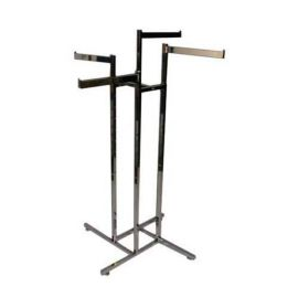 """4-WAY SQUARE TUBE RACK WITH 4 STRAIGHT 16"""" FLAG ARMS"""