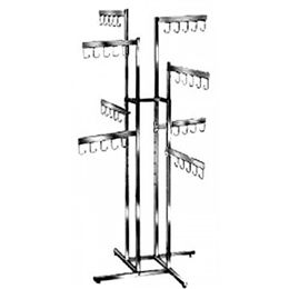 4-Way Handbag Square Tube Rack With 8 Faceout 5 Hook Flag Arms