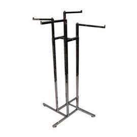 """4-WAY SQUARE TUBE RACK WITH 4 FACEOUT 16"""" SQUARE ARMS - CHROME"""