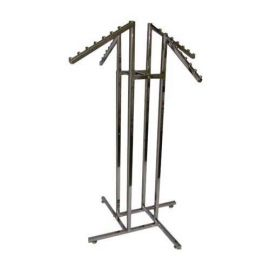 4-Way Square Tube Rack With 4 Square Waterfall Arms - Chrome