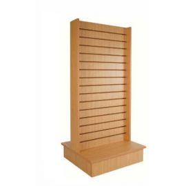 """2-SIDED SLATWALL MERCHANDISER 54"""" X 26"""" W INCLUDING 6"""" BASE WITH CASTERS"""