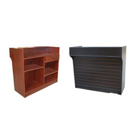 """Ledgetop Counter, 72""""(L) X 22""""(D) X 42""""(H), with Slatwall Front - Cherry, Maple, White, Walnut"""