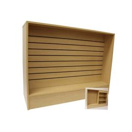 """48"""" L Wrap Counter With Slatwall Front Panel, 48""""(L) X 20""""(W) X 38""""(H), Maple, Black, White"""