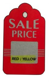 """Promotional Sale Hang Tag, 1 3/4"""" X 2 7/8"""", Sale Price, Unstrung, Red, 1,000 Pcs, Red/Yellow"""