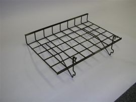"24""(L) X 15""(D) Straight Shelf With Lip for Gridwall/Slatwall, White, Black, Chrome"