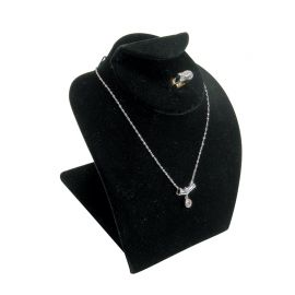 """Combination Neck Form Jewelry Display 5""""(H) - Black Velvet, White Faux Leather"""