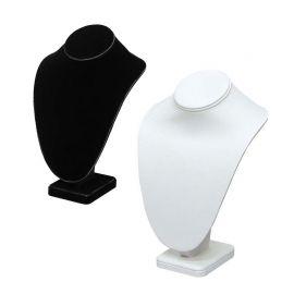 "Neck Form Necklace Display 10"" H - Black velvet, White Faux Leather"
