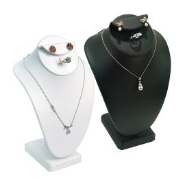 """Combination Neck Form, Ring and Earring Jewelry Display 10""""(H) - Black, White Faux Leather"""
