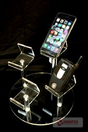 """4 Pedestel Grouping, 4 Cell Phone Mini Easel Display, 9""""Dia"""