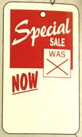 """Promotional Sale Tag, 1 3/4"""" X 2 7/8"""", Special Sale, Unstrung, 1,000 pcs"""