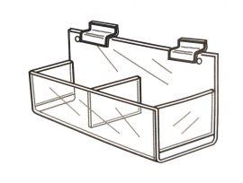 """Packaged Product Acrylic Slatwall Bin, Double Wide, 15 1/2""""(W) X 4 3/4""""(H)"""
