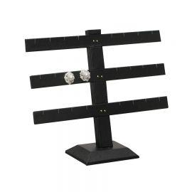 Earring Display Multiple Bar Stand 12Pr Velvet Black - Velvet