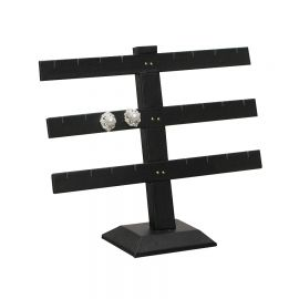 Earring Display Multiple Bar Stand 12Pr Leather White - Faux Leather