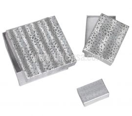 """Cotton Filled Box 2-5/8"""" x 1-1/2"""" x 1"""" Silver / 100Pcs"""