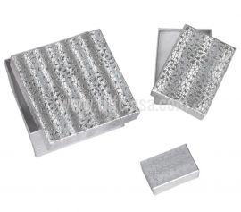 """Cotton Filled Box 3-3/4"""" x 3-3/4"""" x 2"""" Silver / 100Pcs"""