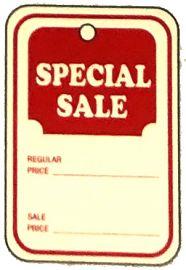 "Promotional Sale Tag, 1 1/4"" X 1 7/8"", Special Sale, Unstrung, 1,000 Pcs, Small"
