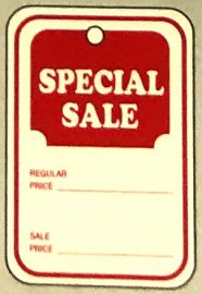 """Promotional Sale Tag, 1 1/4"""" X 1 7/8"""", Special Sale, Strung, 1,000 Pcs, Small"""