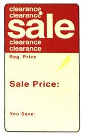 """Promotional Sale Tag, 1 3/4"""" X 2 7/8"""", Clearance Sale, Unstrung, 1,000 Pcs"""