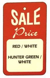 """Promotional Sale Tag, 1 3/4"""" X 2 7/8"""", Sale Price, Strung, Red, 1,000 Pcs"""
