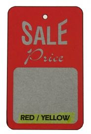 """Promotional Sale Tag, 1 3/4"""" X 2 7/8"""", Sale Price, Unstrung, Red, 1,000 Pcs, Red/Yellow"""