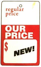 "Promotional Sale Tag, 1 3/4"" X 2 7/8"", Our Price, Strung, 1,000 Pcs"