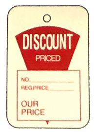 """Promotional Sale Tag, 1 1/4"""" X 1 7/8"""", Discount Priced, Strung, 1,000 Pcs"""