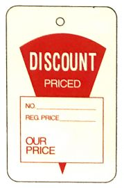 """Promotional Sale Tag, 1 3/4"""" X 2 7/8"""", Discount Priced, Strung, 1,000 Pcs, Large"""