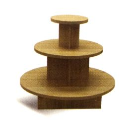 3 Tier Display Table, Round Shape, w/ 3 Shelves