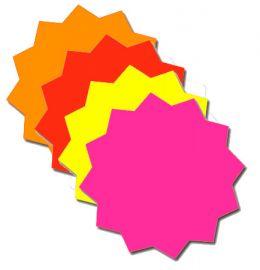 """Fluorescents Die Cut Stars/Blank, Mix, 4"""", 100 Pcs"""