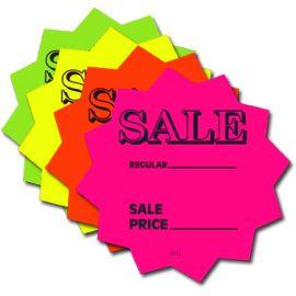 """Die Cut Stars, """"Sale"""", Assorted Fluorescent Colors, , 4"""", 1 Pack (100 Pcs)"""