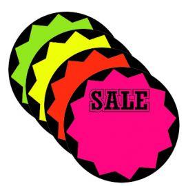 """Fluorescents Die Cut Bursts / Sale, Circle , 5"""", 100 Pcs"""