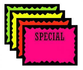 """Die Cut Bursts, """"Special"""",7"""" X 5.5"""", Fluorescent Mix, 1 Pack (100Pcs)"""