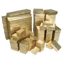 "Cotton Filled Box 3-1/4"" x 2-1/4"" x 1"" Gold / 100Pcs"