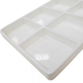 Stackable Compartment Tray, 8 Compartment - White