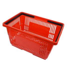 "Plastic Shopping Basket 18"" L X 12"" W X 10"" H - Red"