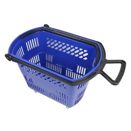 Basket On Wheels With Pull Handle - Blue