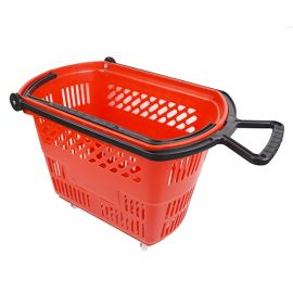 Basket On Wheels With Pull Handle - Red