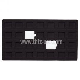"""Flocked Black Tray Insert, Fits 28 Pcs (1 1/2"""" X 1 3/4"""") Puff Pad"""