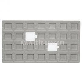 """Flocked Grey Tray Insert, Fits 28 Pcs (1 1/2"""" X 1 3/4"""") Puff Pad"""