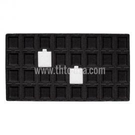 """Flocked Black Tray Insert,  Fit 32 Pcs (1 1/2"""" X 1 3/4"""") Puff Pad"""