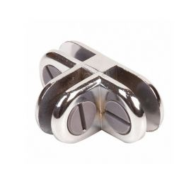 3 Way Connector Metal Cubbie Clip For Glass Displays - Chrome