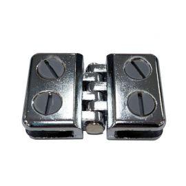 Hinge Connectors, Glass & Wire Grid Cubes - Chrome