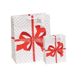 """Shopping Tote - Red Bow, 4 3/4"""" X 2 1/2"""" X 6 3/4""""H, 20 Pcs"""