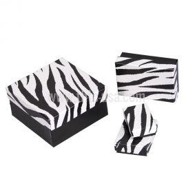 """Cotton Filled Box 3-1/4"""" x 3-1/2"""" x 1"""" Zebra / 100Pcs"""