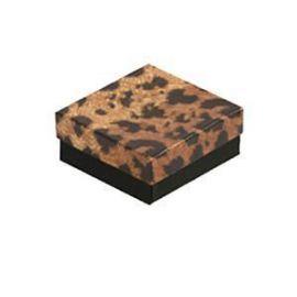 """Cotton Filled Box 3-3/4"""" x 3-3/4"""" x 2"""" Leopards / 100Pcs"""