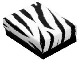 """Cotton Filled Box 3-3/4"""" x 3-3/4"""" x 2"""" Zebra / 100Pcs"""