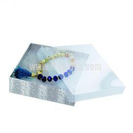 """View-Top Cotton Filled Box 1/2"""" x 3-1/2"""" x 1"""" Silver / 100Pcs"""