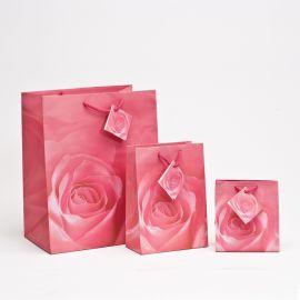 "Pink Rose Shopping Tote Bags, 7.75"" W x 9.75"" L - 20Pcs"