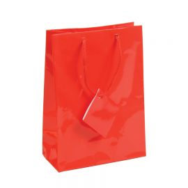 """Glossy Red Shopping Tote Bags, 4.75"""" W x 6.75"""" L - 20Pcs"""