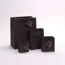 "Glossy Black Shopping Tote Bags, 7.75"" W x 9.75"" L - 20Pcs"